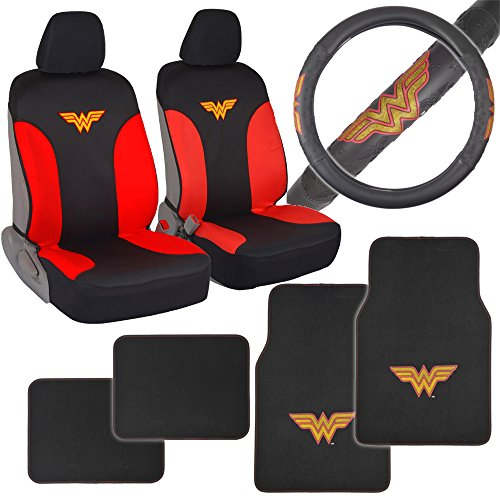 BDK Wonder Woman Auto Accessories Combo Pack - Waterproof Seat Covers, Synth Leather Steering Wheel Cover & 4 Piece Car Floor Mats