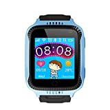 FUBORONG Reloj Inteligente para niños con rastreador GPS SIM Solt Podómetro SOS Cámara Antiperdida Despertador Reloj Inteligente Pulsera, Azul