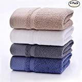 HONEYJOY 4 Pack Soft Luxury Hand Towels Set Hotel and Spa Quality 100% Ring Spun Genuine Cotton Towel, Multipurpose Use for Face, Bath, Gym, Spa, Family (White Grey Blue Khaki, 13.38 x 29.5 Inches)