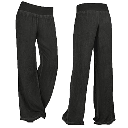 FairySu® Womens Loose Pants Plus Size Harem Yoga Pilates Baggy Wide Leg Lounge Elastic Waist Culottes at Amazon Womens Clothing store:
