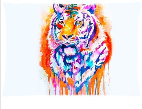Buythecase Unique Fashion Pillowcase Design Tiger Color Painting Size 20 X 30 inch custom pillow cases(one side print 2 way cloth)