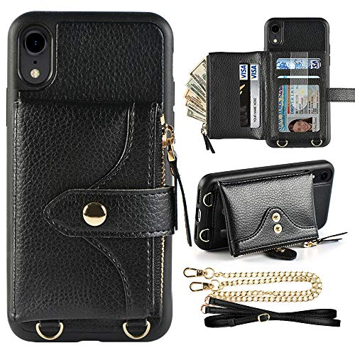 LAMEEKU Wallet Case Compatible with iPhone XR, iPhone XR Wallet Case Zipper Case with Wrist Chain Crossbody Strap Card Holder Leather Case for iPhone XR, 6.1 inches-Black