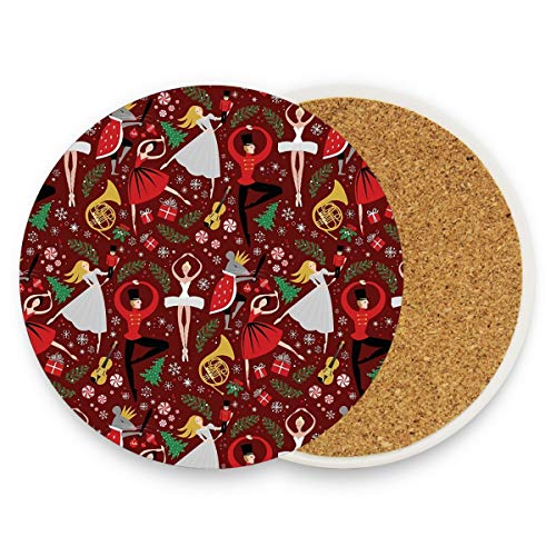 Drink Coasters, Set of 4 Ceramic Stone Coasters with Cork Base, Protect Furniture from Dirty and Scratched, Stone Coasters Mats Suitable for Kinds of Mugs and Cups Nutcracker Ballet Red Med.