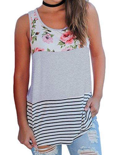 Halife Print Sleeveless Shirts for Women Plus Size, Floral Striped Tunic Tank Top 2X (Tank Sleeveless Size Top Plus)