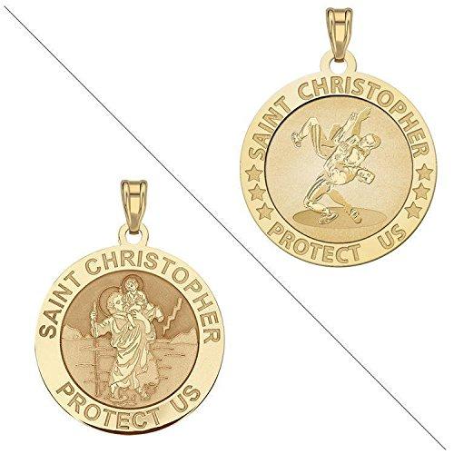 Custom Engraved Wrestling - Saint Christopher Doubledside Sports Religious Medal 1 Inch Solid 14K White Gold