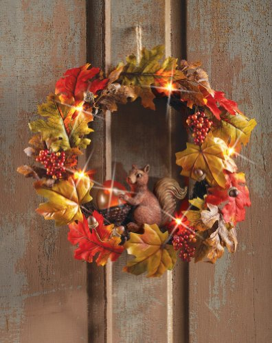 Autumn Squirrel Lighted Wreath Decor