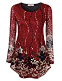 Jubby Womens Lace Floral Printed Round Neck Flared Tunic Top