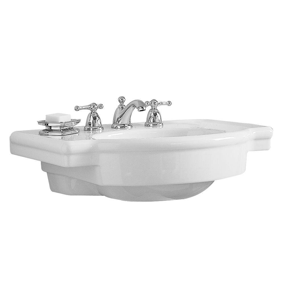 American Standard 0282.008.020 Retrospect Pedestal Console Sink Top With  8 Inch Faucet Spacing, White   Small Console Sink   Amazon.com