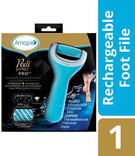 Amope Pedi Perfect Wet & Dry Foot File, Callous Remover for Feet, Hard and Dead Skin - Rechargeable & Waterproof (Packaging May Vary) Baby smooth feet in minutes. For in home pedicure foot care spa.