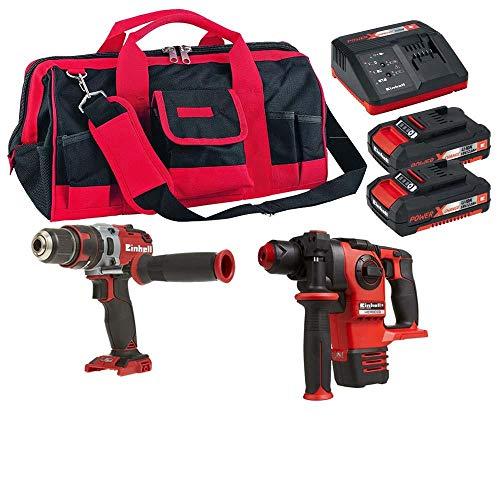 Martelete, furadeira/parafusadeira,bolsa e kit baterias einhell