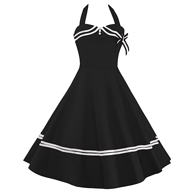 2fe3444e8d4 Samtree Women s Vintage Sailor Navy Style Party Cocktail Halter Swing Dress (XXL
