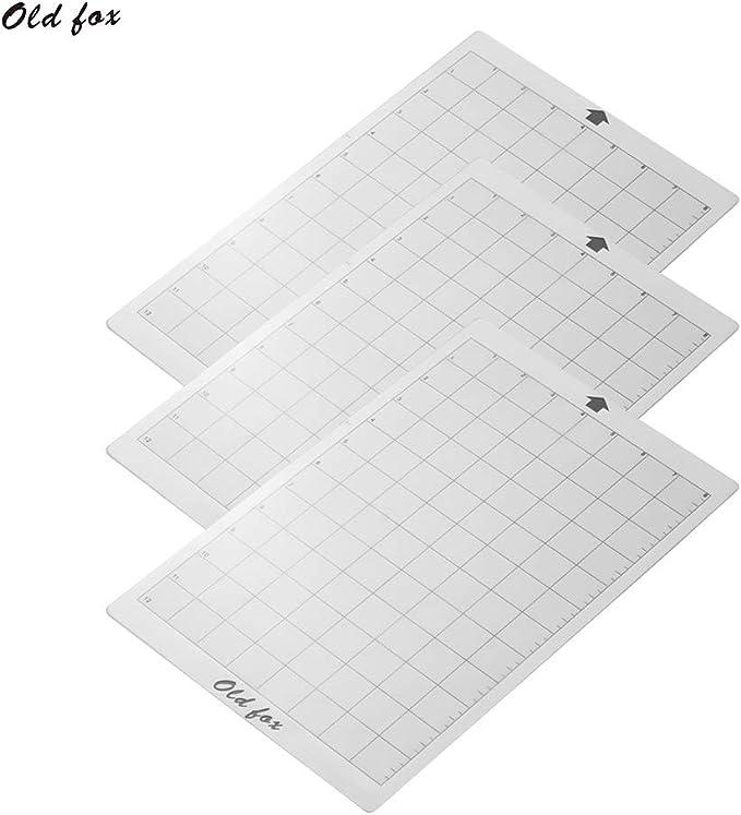 Ajcoflt OLD FOX Reemplazo Estera de corte Estera adhesiva transparente con rejilla de medición de 8 por 12 pulgadas para Silhouette Cameut Cricut Explore Plotter Machine, 3pcs: Amazon.es: Oficina y papelería