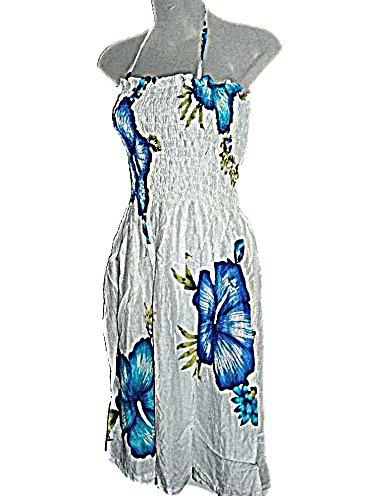 HAWAIIAN BLUE HIBISCUS SHORT SPAGHETTI STRAP SUN DRESS- ONE SIZE - Store Hawaiin