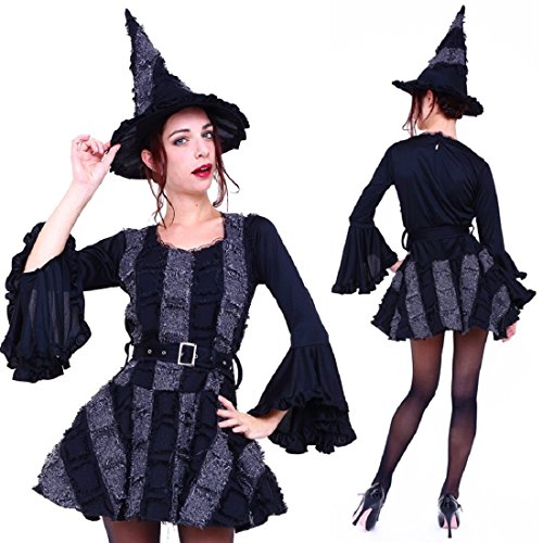 Pagoda Dress Costumes (Club Queen -- Gothic Frill Witch Costume with Pagoda Sleeves -- XS to Small Size)