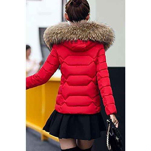 Fur Women's Red BOZEVON Warm Winter Jacket with Coat Faux Hood Short Zip SHOHq1w
