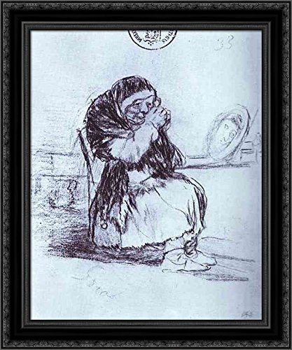 The Old Woman with a Mirror 24x20 Black Ornate Wood Framed Canvas Art by Francisco Goya - Francisco Wood Mirror