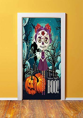 Halloween 3D Door Sticker Wall Decals Mural Wallpaper,Cartoon Girl with Sugar Skull Makeup Retro Seasonal Artwork Swirled Trees Boo Decorative,DIY Art Home Decor Poster Decoration 30.3x78.3209,Multico]()