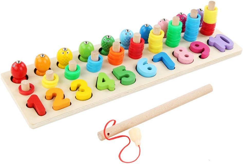 Sipobuy Montessori Matemáticas Clasificación Apilamiento Bloques de Madera Rompecabezas Tablero de recuento de números Juego de caña de Pescar Juguetes de Aprendizaje para niños pequeños