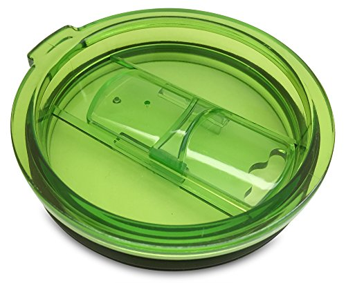 Green Replacement Lid with Slider Closure for Yeti Rambler, RTIC Tumblers - Works Perfect with Straws (Lid only, Tumbler not included)