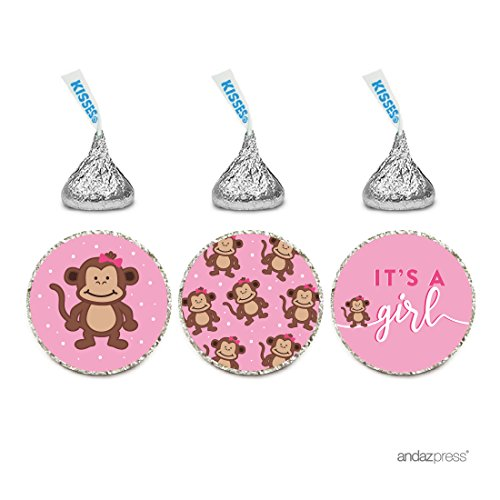Andaz Press Chocolate Drop Labels Trio, Girl Baby Shower, Sweet Monkey, 216-Pack