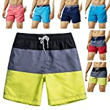 MaaMgic Mens Quick Dry Striped Swim Trunks with Mesh Lining Swimwear Bathing Suits,Yellow-glm003,Large