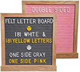 Pink and Gray Felt Letter Board, Double Sided 10x10, 362 White & Yellow Letters, Oak Wood Frame, Changeable Letter Board with Stand Included. Perfect Premium Gift!