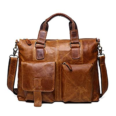 2886db643a low-cost ZEEMOO Men s Crazy Horse Leather Business Bag Work Tote Laptop  Briefcase Messenger Bag