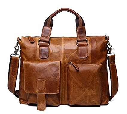 006581b16382 ZEEMOO Men's Crazy Horse Leather Business Bag Work Tote Laptop Briefcase  Messenger Bag Shoulder Bag Fit 15