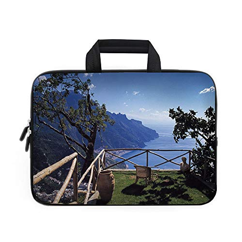 (Country Decor Laptop Carrying Bag Sleeve,Neoprene Sleeve Case/Mediterranean Scenic View Mountain Cliffs Sea Coast Travel Destination/for Apple Macbook Air Samsung Google Acer HP DELL Lenovo AsusBlue G)