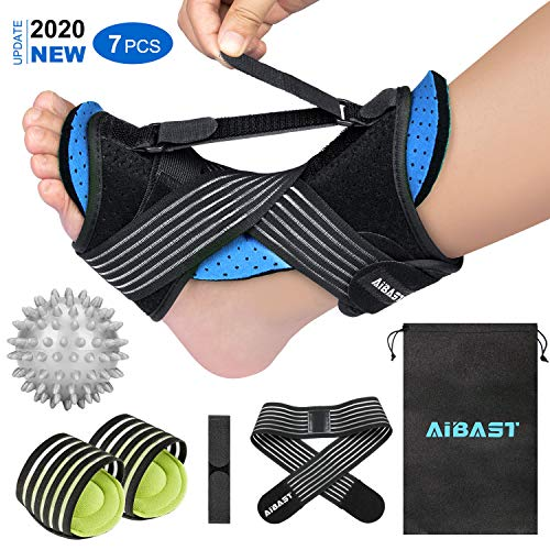 2020 New Upgraded Blue Night Splint for Plantar Fascitis, AiBast Multi Adjustable Ankle Brace Foot Drop Orthotic Brace for Plantar Fasciitis, Arch Foot Pain, Achilles Tendonitis Support for Women, Men