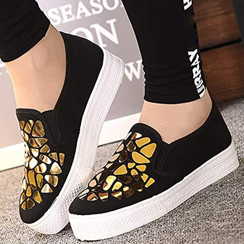 Aire Tacón y Deportes Mujer Gym Zapatillas Deportivas Cinnamou Trail para Running de Libre Sneakers Comodos Oro Zapatos w76vggq1Zc