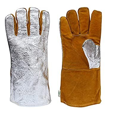 Leather and Aluminized Rayon Wool Lined Aluminized Welding Glove Leather and Aluminized Rayon Wool Lined Aluminized Welding Glove 14  36 cm