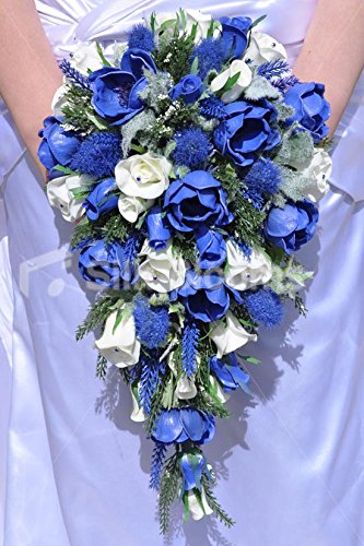 Bouquet Blu Sposa.Scottish Inspired Royal Blue Anemone Heather Thistle And White
