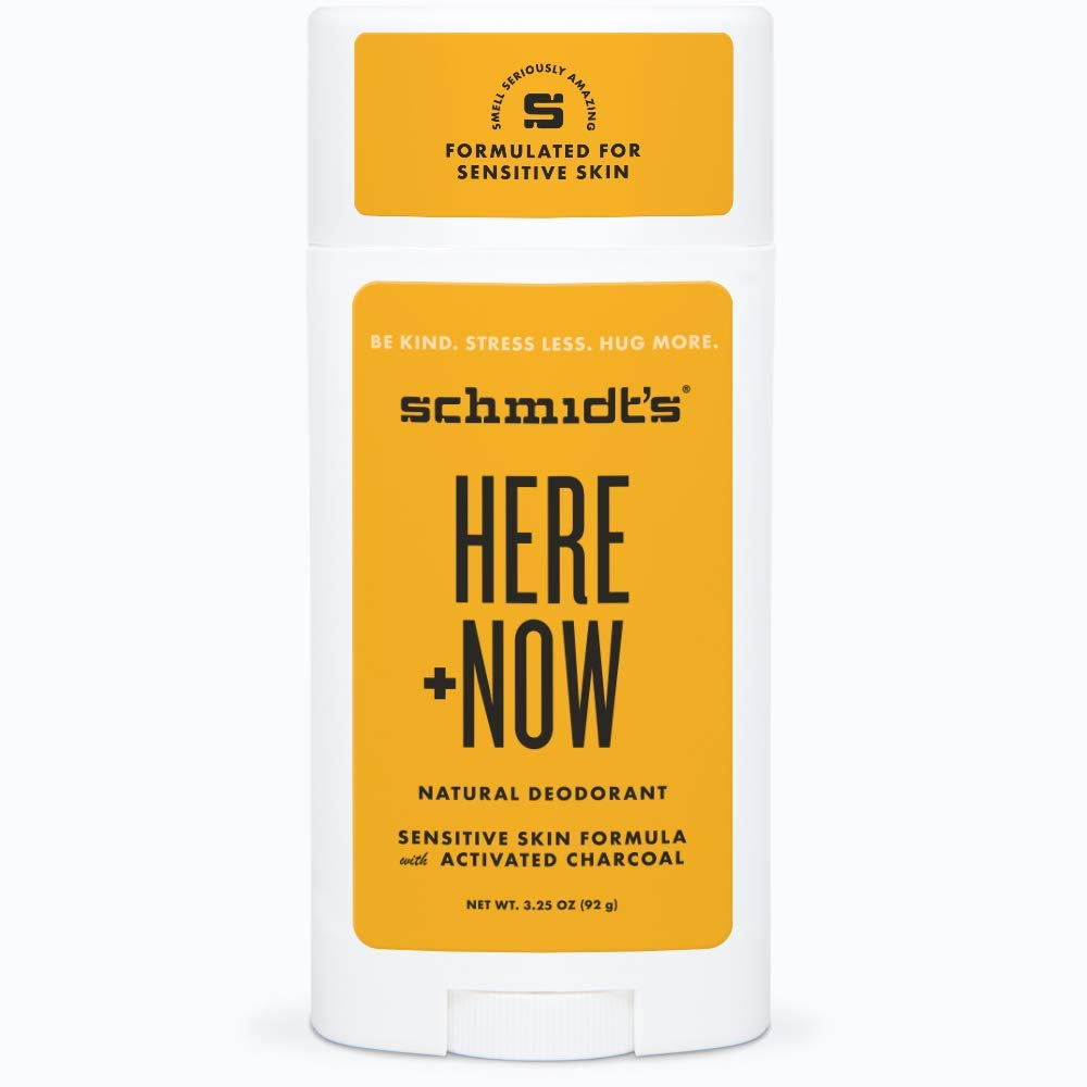 Schmidt's Here Plus Now by Justin Bieber, Sensitive Skin Deodorant with activated charcoal, 3.25 oz