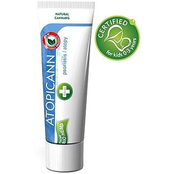 Atopicann - crema para el cuidado de la piel con psoriasis, acné, eccemas, dermatitis - Extracto de semillas de cáñamo, plata coloidal, óxido de zinc.