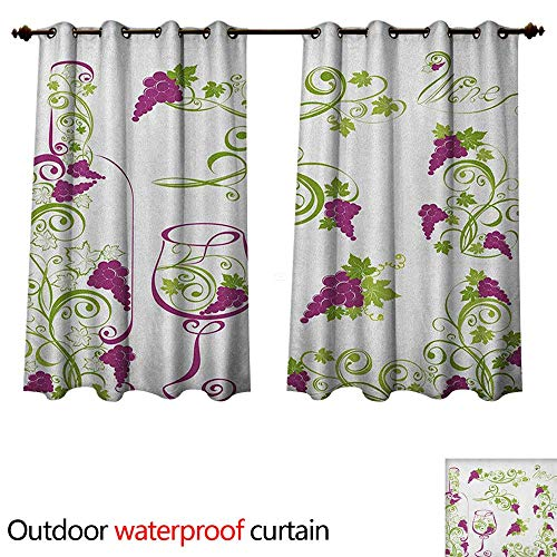 Anshesix Wine Home Patio Outdoor Curtain Wine Bottle and Glass Grapevines Lettering with Swirled Branches Lines W55 x L72(140cm x 183cm)