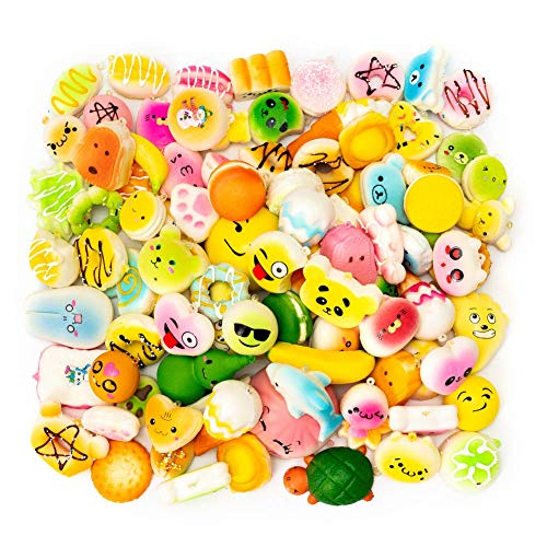 M-Gigi Random Squishy Cream Scented Slow Rising Kawaii Simulation Bread Children Toy, Soft Squishy Cake/Panda/Bread/Buns Phone Straps, Jumbo/Medium/Mini, 20 Piece ()