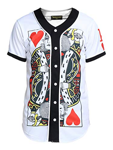 PIZOFF Short Sleeve Arc Bottom 3D King of Heart Print Baseball Jersey Shirt Y1724-5-XXL
