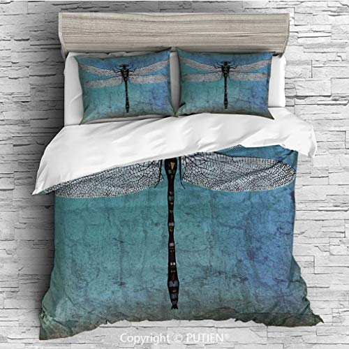 QUEEN Size Cute 3 Piece Duvet Cover Sets Bedding Set Collection [ Dragonfly,Grunge Vintage Old Backdrop and Dragonfly Bug Ombre Image,Dark Blue Turquoise and Black ] Comforter Cover Set for Kids Girls ()