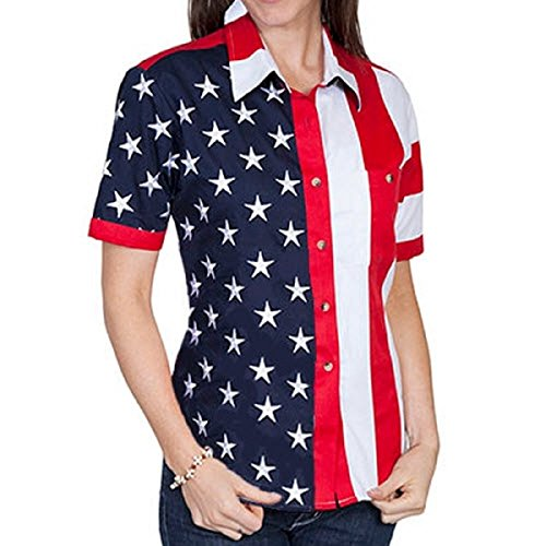 The Flag Shirt Short Sleeve Woven Full Flag and Stripes Women's Polo Shirt (3X, (Embroidered Banded Bottom Shirt)