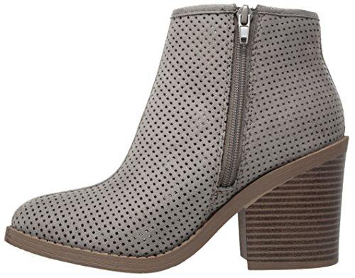 MVE Schuhe Soda Womens Ziel perforiert Stacked Blockabsatz Ankle Bootie Graue Imsu * t