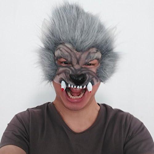 YGHBKL Máscara de Cabeza de Lobo Gris de Media Cara Disfraz de ...