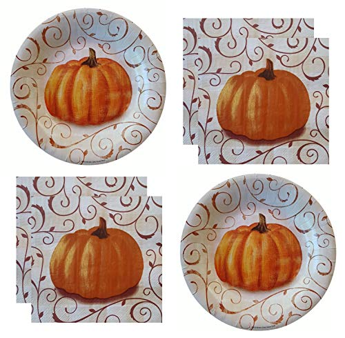 Fall Party Supplies Thanksgiving Harvest Rustic Pumpkin Plates And Napkins for 40 Guests