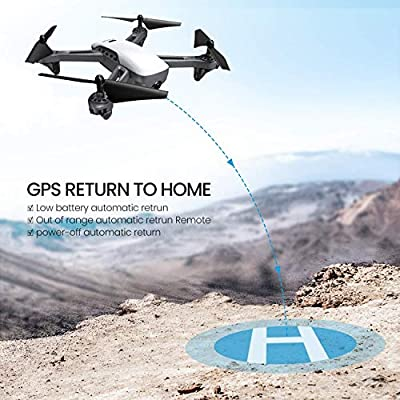 Potensic D50, GPS Drone with Camera for adults, 1080P HD FPV Live Video Quadcopter for beginner, GPS Return Home, Follow Me, Long Range Control drone , 5G WiFi Transmission, Great Gift-White