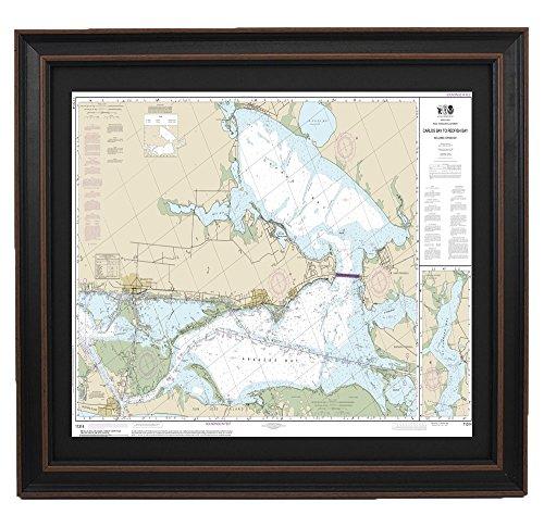 PatriotGearCompany | Framed Nautical Chart 11314 : Carlos Bay to Redfish Bay - Standard Size (Redfish Framed)