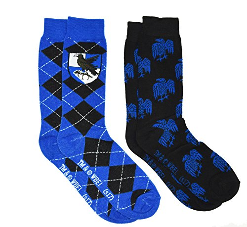 Harry Potter 2 Pack Gryffindor Ravenclaw Huffle Puff Slytherin House Mens Crew Socks (Ravenclaw) from Hyp