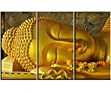 quan yin pictures - Artisweet Canvas Prints Picture Sensations Framed Waterproof 3-panel Gold Quan Yin Buddha Canvas Art