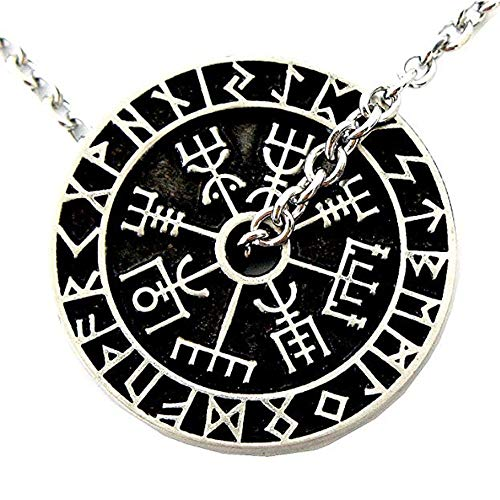 (Nordic coin amulet Vegvísir Guidepost Compass sign post wayfinder Odin horn triquetra valknut Mjolnir Thor's hammer pewter pendant Necklace Charm Amulet Medallion Talisman (Stainless Steel necklace))