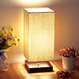 Minimalist LED Bedside Table&Desk Lamp, Shine HAI Square Solid Wood Lamps with Unique Lampshade, Perfect for Bedroom, Dorms, Living Room, Office, Nightstand Lights, Brown