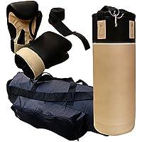 ScSPORTS Boxsack-Set, Boxsack 12 kg, Box-Set inklusive Boxhandschuhen, Boxbandagen, Packsack, und Nylongurt für Halterung, beige/schwarz